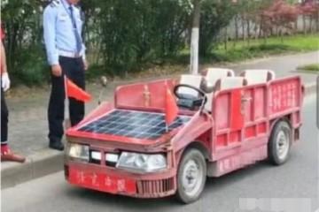 乡村大爷造出太阳能跑车不烧油只喝水交警看后笑眯眯